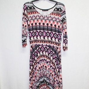 Fit to Figure fit and flare stretchy printed dress